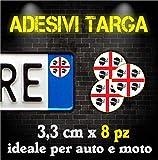 Adesivi Targa Bollino sardegna per Auto & Moto (8 pz)