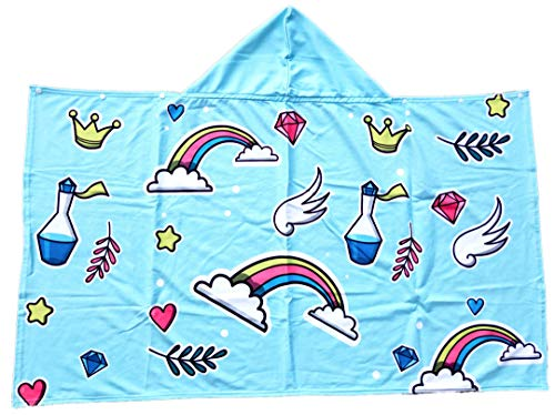 Polly House Children Hooded Beach Towel for Ages 7-12, Shower Bath Robes, Swim Coverup, Water Activities Towel Boy/Girls, Soft Strong Absorbent ((L) Rainbow Heart)
