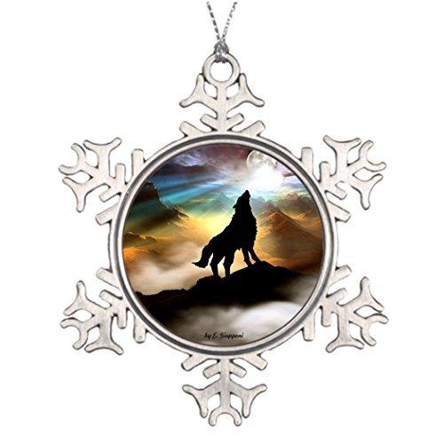 VinMea Xmas Snowflake Ornaments Tree Branch Decoration Wolf HAWLING at The Full Moon pin Botton Outdoor Xmas Decorations