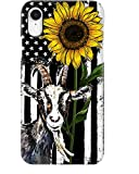 Beautiful Sunflower with Goat Phone Case for Apple iPhone - Glass Case with Unique Fashion Printed Design, Slim Fit, Anti Scratch, Shock Proof,Case Cover Compatible for iPhone,6S Plus/6 Plus