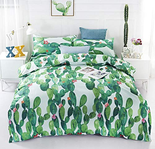 RYQRP Double Duvet Covers Set Cactus Plant Bedding Set 3pcs with Zipper Closure in Polyester, 1 Bedding Quilt Cover with 2 Pillowcases for Children Kids Teens Adults, 200x200
