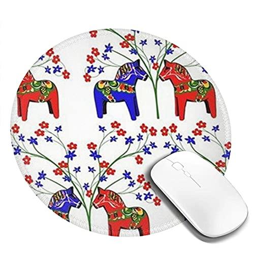 Alfombrilla de ratón redonda con estampado de caballo de dibujos animados, alfombrilla de ratón para ordenador de sobremesa, portátil, portátil, alfombrilla de ratón personalizada para juegos