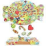 Nueplay キャンディ ジグソーパズル 100ピース 知育玩具 男の子 おもちゃ 女の子 おもちゃ 教育ゲーム 知的ゲーム 家族オモチャ 子供向けパズル 収納ボック付き キッズ 孫 人気 誕生日プレゼント 贈り物