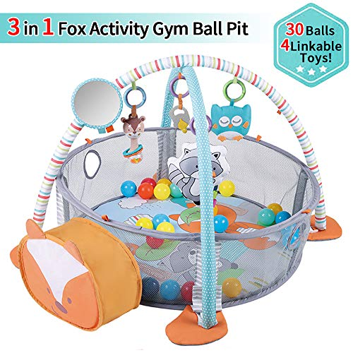 WYSWYG Stimulating Baby Play Mat - 3 in 1 Baby Gym with 4 Hanging Toys & 30 Balls - Infant Playmat for Tummy Time - Educational Baby Activity Mat & Ball Pit - Baby Play Gym for Boys & Girls (Fox)