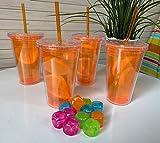 4 doppelwandige Acryl-Kunststoffgläser mit Schraubdeckel und wiederverwendbarem Trinkhalm 500 ml – BPA-frei (orange)