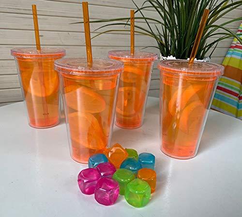 Set de 4 vasos plasticos de acrilico doble pared con tapa enrroscable y pajita reutilizable de 500ml - libre de BPA (NARANJA)