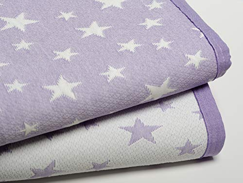 Colcha Cubrecama ESTRELLITAS de Jacquard Estrellas en Color Gris/Beig/Rosa/Azul (Todas Las Medidas). Reversible (Lila, 270x260 (Cama 180 cm))