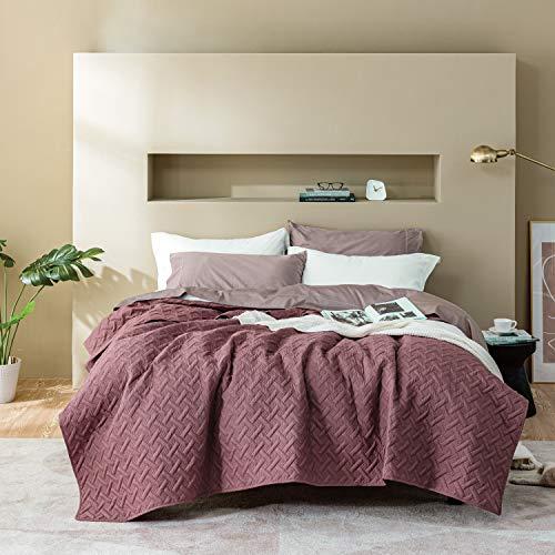 BEDSURE Tagesdecke 220 240 rosa Schlafzimmer- Bettüberwurf 220x240 cm für Bett, Wohndecke aus Mikrofaser mit Ultraschall genäht, als Steppdecke Sommer Komfort & Weich