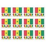 Amosfun 12Pcs Temporäre Tattoo Länder Flaggen Senegal Flagge Tattoo Aufkleber wasserdichte Gesicht Aufkleber für Weltmeisterschaft Olympische Spiele Sport Internationale Wettbewerbe