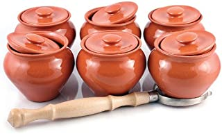 Stoneware Ramekins with Lids (Set of 6) & 1 Oven Fork - 16.9 fl oz (500 ml) - Clay Pots for Cooking
