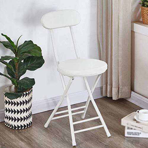 YLCJ klapstoel met rugleuning, inklapbaar, van metaal, halfrond PU-stoel, voor thee, koffie, tuinstoel voor buiten (lichtblauw) Wit.