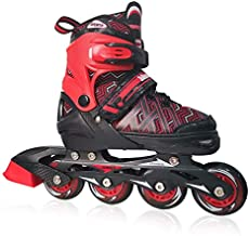PetGirl Inline Skates for Kids, Adjustable Inlines Skates with Light up Wheels for Girls Boys, Fun Illuminating Blades Ice Skating Equipment for Indoor&Outdoor (Red, Large - Youth (5-8US))