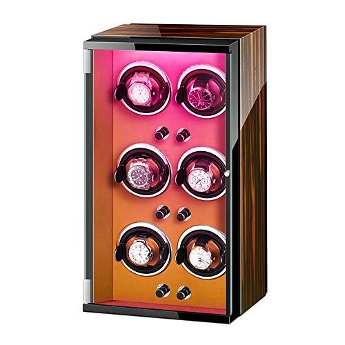 YXFYXF Reloj Caja de Winder para 6 Reloj automático con Luces Coloridas Almohadas de Relojes Ajustables Motor silencioso para Hombres Mujeres Wat (Color : D)