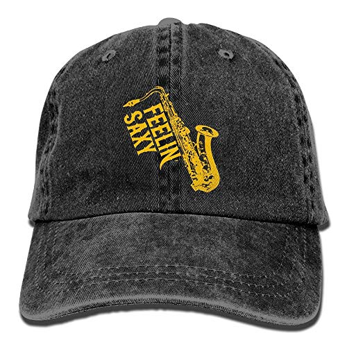 Hoswee Baseballmütze Hüte Kappe Feelin Saxy Saxophone Plain Adjustable Cowboy Cap Denim Hat for Women and Men