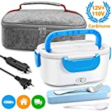 Electric Lunch Box Food Heater - Farochy Heating Lunch Box Heater Portable Microwave Electric Lunch Box 2 in 1 for Car and Home 110V & 12V, Stainless Steel Food Warmer and Heater (Blue)