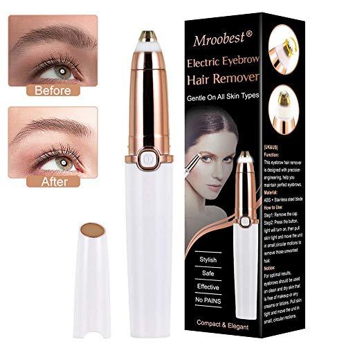 Eyebrow Trimmer, Depiladora Cejas Mujer, Ceja Recortador Flawless, Afeitado de cejas indoloro Eliminador de cejas con luz LED Depiladora de cejas Cejas Depiladora, Sharp y seguridad