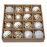 Valery Madelyn 16Pcs Bolas de Navidad de 8cm, Adornos de Navidad para Arbol, Decoración Navideños Plástico Blanco y Dorado, Regalos de Colgantes de Navidad (Elegante)