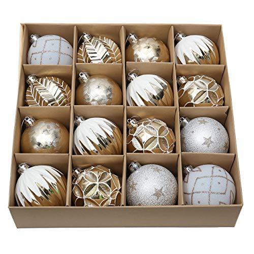 16 Piezas Bolas de Navidad de 8cm, Adornos de Navidad para Arbol, Decoración Navideños Plástico Blanco y Dorado, Regalos de Colgantes de Navidad (Elegante)