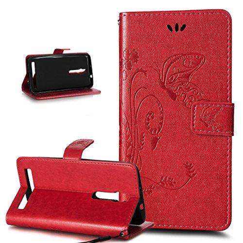 Kompatibel mit ASUS ZenFone 2 5.5 Hülle,Prägung Groß Schmetterling Blumen PU Lederhülle Flip Hülle Cover Ständer Karten Slot Wallet Tasche Hülle Schutzhülle für ASUS ZenFone 2 ZE550ML/ZE551ML 5.5