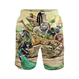 Tigre Salvaje Africano Leopardo Animales Bañador para Hombre Pantalones Cortos Bañadores Shorts para Hombres Natacion Piscina Surf Playa
