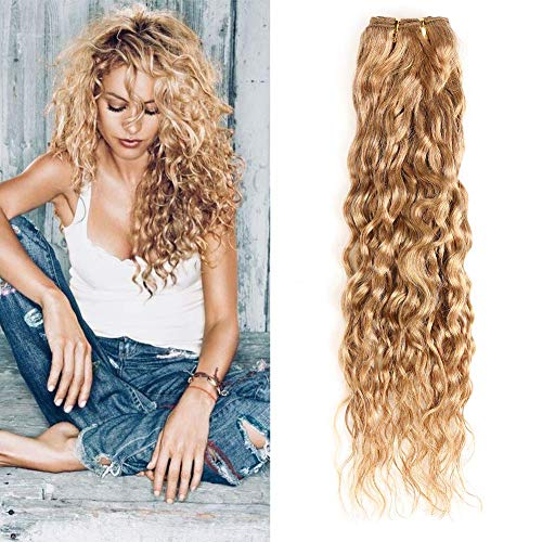 New Year Gifts XCCOCO One Bundle Honey Blonde Water Wave Bundles Brazilian Virgin Curly Wet and Wavy Hair Weave 100% Unprocessed Human Hair Extensions 20inch,100g/bundle