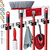 Effektivtools Mop and Broom Holder Wall Mount – Self-Adhesive Stainless Steel broom hanger organizer – 4 Clamps, 3 Hooks, 5 Towel Hanging Clips Mounting Screws – Holds Up to 40 Lbs