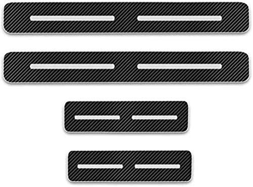HAOHAO Anti-Kratz-Platte für Autoschwelle für Passend für 4 Stück Externes Carbon-Faser-Leder-Auto Kick-Platten Pedal for Qashqai Juke X-Trail Almera Tiida, Einstieg Willkommen Pedal-Tritt Scuff.