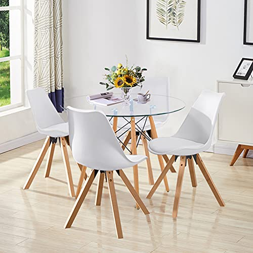 GOLDFAN Dining Glass Table and Set 4 Leather Cushion Chairs Kitchen Table Modern Wood Round Dining Room Set, 80cm, All White