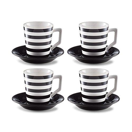 Zeller 26561 Cappuccino-Set, Steinzeug, schwarz/weiß
