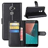 HualuBro Vodafone Smart N8 Hülle, Leder Brieftasche Etui LederHülle Tasche Schutzhülle HandyHülle [Standfunktion] Handytasche Leather Wallet Flip Hülle Cover für Vodafone Smart N8 (Schwarz)