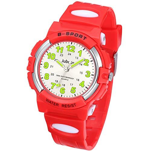 Juboos Kinderuhr Jungen Mädchen Analog Quartz Uhr mit Armbanduhr Kautschuk Wasserdicht Outdoor Sports Uhren-JU-001 (Groß Rot)