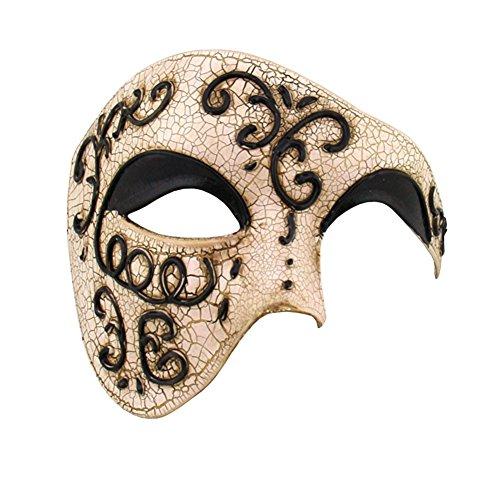 Burlesque-Boutique Half Face Mask Masquerade Phantom of The Opera BB004BK Black