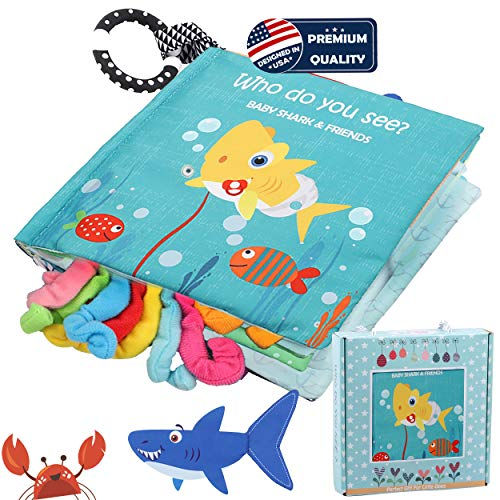 Baby Shark Cloth Book Soft Fabric Activity Books,Tails book,Sea Animal Fish Sharks Crinkle Books Toys for Early Education For Babies,Toddlers, Infants,Kids With Teether Ring,Teething Book Baby Octopus