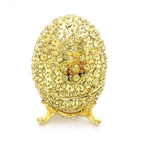 KK Zachary Caja de joyería chapada en aleación esmaltada con diamantes pintados a mano, forma de huevo con forma de diamante, 4 x 6 cm