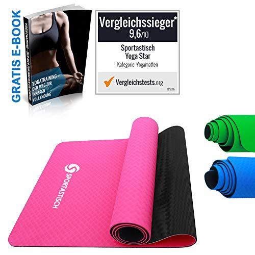 Sportastisch Yogamatte Vergleichssieger¹ Premium Yoga Star Gymnastikmatte, rutschfeste Fitnessmatte Sportmatte für Pilates Fitness Gymnastik, GRATIS E-Book & biszu 3 Jahren Garantie² (Rosa)
