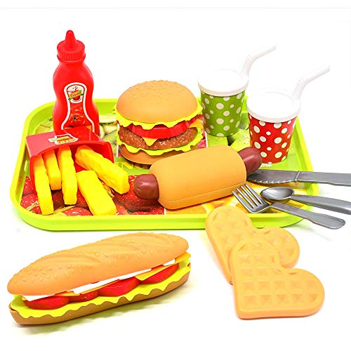 CAILLU Toddler Girls Toys Play Food Pretend SetFood Green stem Kids Toys BurgerBoys Pretend Play