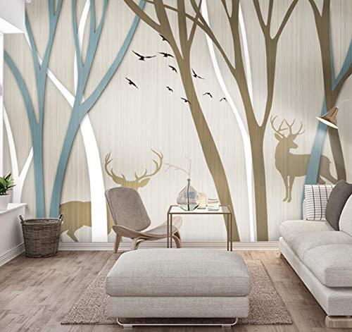 Fotobehang in Scandinavische woonkamer minimalistisch modern tv-achtergrond Wapiti wandafbeeldingen handgeschilderd 430cm*300cm