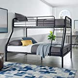 AmazonBasics Heavy Duty Twin-Over-Full Metal Bunk Bed, Easy Assembly with Enhanced Upper-Level Guardrail, Black