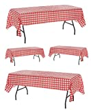 Pack of 4 Plastic Red and White Checkered Tablecloths - 4 Pack - Picnic Table Covers