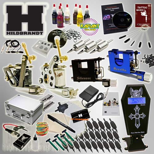 Hildbrandt Tattoo Kit Professional 4 Machine Set + TKHPRO2 Gun Needle Power Supply Inks Carrying Case Training