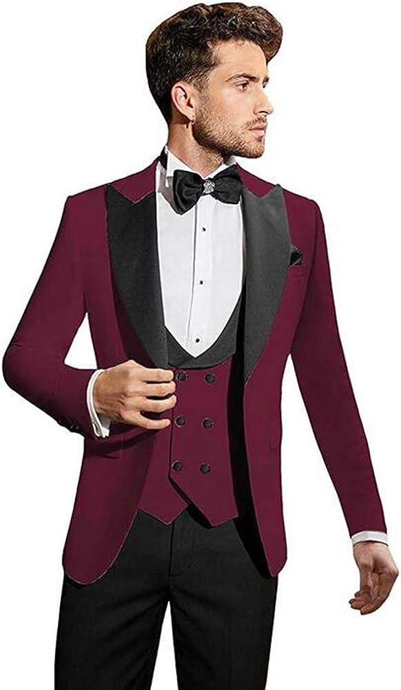 Men's One Button 3 PC Peak Lapel Wedding Suits Slim Fit Groom Tuxedos Prom Suits Business Suits