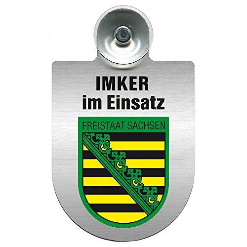 Einsatzschild mit Saugnapf - Imker im Einsatz 309382 incl. Regionenwappen nach Wahl Farbe Region Freistaat Sachsen