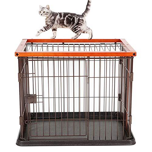 ZWW Grote kattenkooi, massief houten frame, loopstal voor huisdieren, omheining voor katten, villa voor honden, met dienblad en badkamer