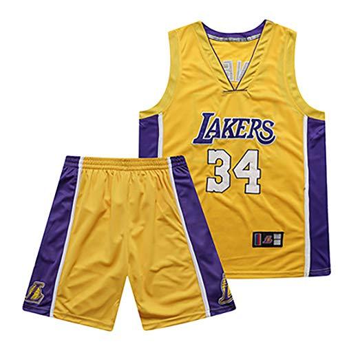 Divisa da basket n. 34 SHAQUILLE O'NEAL, maglia Lakers, maglia ad asciugatura rapida, maglia da pantaloncino da basket, divisa da basket-yellow-L