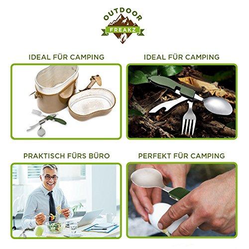 OUTDOOR FREAKZ Outdoor Campingbesteck Klapp-Besteck aus Edelstahl mit Gürteltasche, das Original! (grün +) - 6