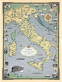 1935 Ernest Dudley Chase Map Italy with Vatican City Art Print Canvas Premium Wall Decor Poster Mural Carte Italie Cité du...