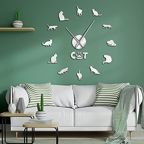 American Shorthair Cat - Reloj de pared moderno con efecto espejo para gato, números con aguja grande, gato y raza para mascotas (47 pulgadas)