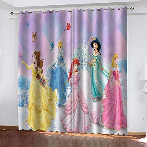 Agvvseso® Impresión digital 3D Bella princesa de anime Cortinas para sala de estar Cortinas de lujo Decoración de ventana de moda Panel de dormitorio (W)220x(H)215 cm Habitación infantil niño niña ha
