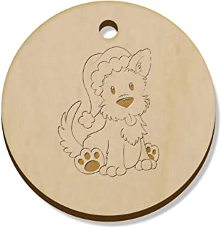 11 x 34mm 'Christmas Westie Dog' Wooden Pendants / Charms (PN00023226)