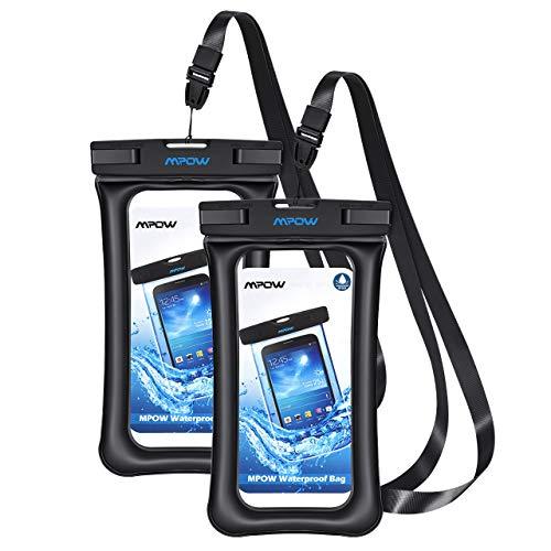 Mpow wasserdichte Schwimmende Handyhülle TPU+ABS, wasserdichte Handytasche, Staubdichte Schützhülle, geeingnet für iPhone 11/iPhone XS/X/XR/8/Galaxy S20/S10/S9/S8/P30/P20 bis zur 6,5 Zoll